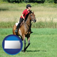 kansas map icon and an English-style rider atop a handsome brown horse