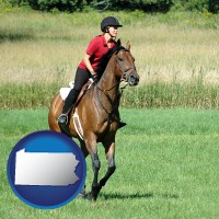 pennsylvania map icon and an English-style rider atop a handsome brown horse