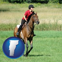 vermont map icon and an English-style rider atop a handsome brown horse