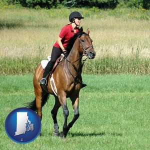 an English-style rider atop a handsome brown horse - with Rhode Island icon